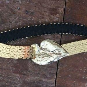 Gold Leaf Buckle Mesh Stretch Belt Vintage